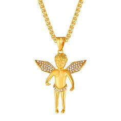 U7 Gold Plated Rhinestone Angel Pendant Hip Hop Style Necklace 22' >>> You can get more details by clicking on the image. (This is an affiliate link) #NiceJewelry