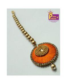 Buy matching kids Silk thread tikka for your grand pattu pavadai traditional wear www. Silk Thread Necklace, Silk Thread Bangles, Thread Jewellery, Diy Jewellery, Jewelery, Jewelry Design, Beaded Earrings, Crochet Earrings, Indian Theme