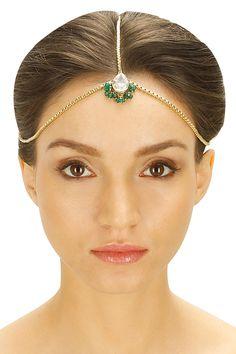 Gold plated crystal drop green beads matha patti by Ritika Sachdeva. Shop now: www.perniaspopupshop.com. #ritikasachdeva #mathapatti #jewellery #fashion #shopnow #perniaspopupshop #happyshopping