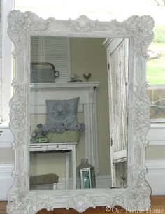 DIY Shabby Chic | DIY-SHABBY CHIC / Antiqued Shabby White Mirror {Tutorial}