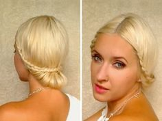 Hairstyle tutorial for medium-long hair.  Create two small french braids on either side of your hair then uplift into an elegant updo.  Watch as she styles her own hair in 3 mins.