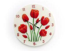Items similar to Tulip Wall Clock, Unique Red Floral Wall Decor, Gift for Woman on Etsy Silver Wall Decor, Blue Wall Decor, Dog Lover Gifts, Dog Gifts, Picture Clock, Glass Painting Patterns, Handmade Clocks, Clock For Kids, Modern Clock