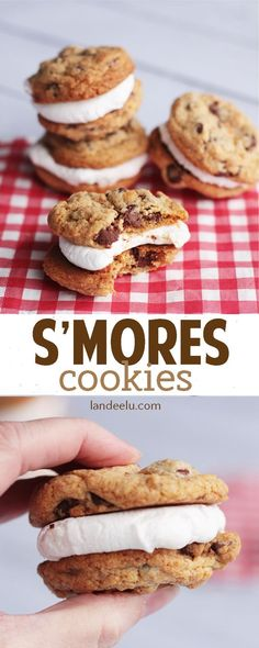S'Mores Cookies Recipe - These s'mores cookies taste just like the ones you make over the campfire except you can have them whenever you want!!