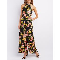 Charlotte Russe Floral Print Mock Neck Jumpsuit ($39) ❤ liked on Polyvore featuring jumpsuits, multi, white sheer jumpsuit, wide leg jumpsuit, jump suit, white wide leg jumpsuit and white jumpsuit