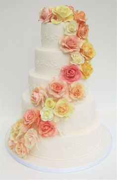 Classic wedding cake with summer flower detailing