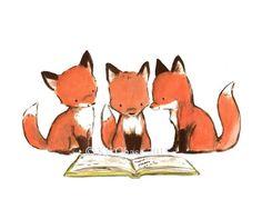 "Children's Art -- ""FOXY BOOK CLUB"" -- Archival Print by trafalgarssquare on Etsy https://www.etsy.com/listing/221571470/childrens-art-foxy-book-club-archival"