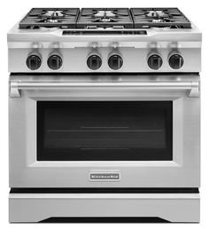 This is my range and I loooove it. Dual fuel.   36-Inch 6-Burner Dual Fuel Freestanding Range, Commercial-Style