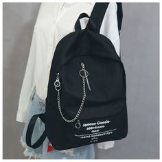 Little Days Chain Detail Lettering Canvas Backpack Stylish Backpacks, Cute Backpacks, Bags For Teens, Girls Bags, Mochila Grunge, Fashion Bags, Fashion Backpack, Canvas Backpack, Cute Bags