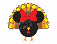 Disney Minnie Mouse Fall Thanksgiving Harvest Turkey Bird Holiday DIY Printable Iron On t shirt Transfer Instant Download