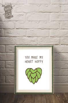 Happy Heart Beer Poster Craft Beer Beer Art Home by HailToTheAle