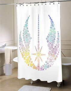 Star Wars Inspired Brightly Colored Jedi Flowers shower curtain customized…