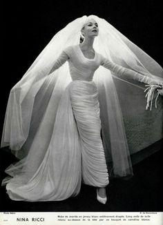 Wedding dress by Nina Ricci, c.1957.