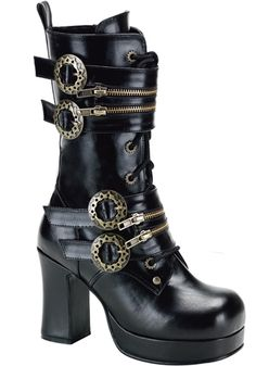 """Demonia - Gothika 100 Boot        Black lace-up calf length boot        Zip straps and steam gear buckles        Inside zip        Microfibre/PU        3 3/4"""" heel    Very SteamPunk!"""