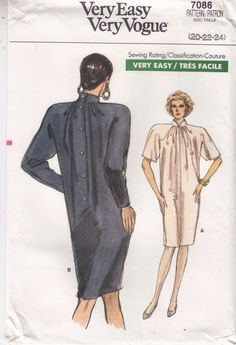 Vogue Dress Tapered Loose Fit Sewing Pattern 7086 Sizes 20-24 Very Easy #Vogue #dress