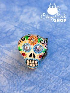 Day of the Dead Sugar Skull - polymer clay ring by @Adriana Ayala ClayCatShop #SFEtsyHalloween