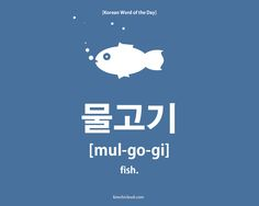 To say 'fish' in the Korean language you use the word mul-go-gi (in Hangul: 물고기).