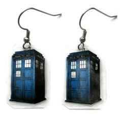 Doctor Who TARDIS Earrings on Etsy...I must must must have these!!!!! It would be the perfect graduation gift i would filp if someone got these for me for a grad gift