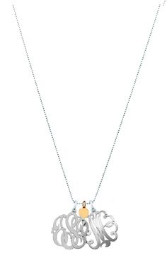Sterling Silver three initial Monogram Pendant with 14kt yellow gold heart charms that can be engraved