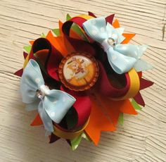 Girl Scarecrow Bottle Cap Bow Thanksgiving Bow by TootandPuddle, $8.00