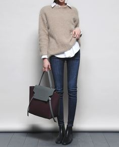 minimal chic layered look w  sweater, white button down, skinny jeans, + 1cc42acba82c