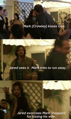 Supernatural haha Mark Sheppard Jared Padalecki, this is so cute...