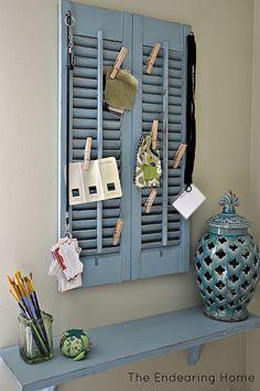 Wood Shutter + Shelf = Organization Station