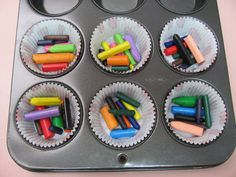 My son Brett asked me if we could make these today. It turn out to be fun. Melt Crayons, Diy Crayons, Broken Crayons, Art For Kids, Crafts For Kids, Arts And Crafts, Homemade Crayons, Babysitting Fun, My Step Mom