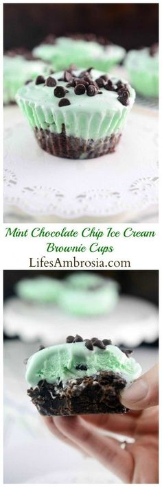 Mint chocolate chip ice cream brownie cups are crazy easy to make and sure to be a hit at parties!