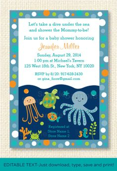 Under the Sea Baby Shower Invitation by LittlePrintsParties, $10.00