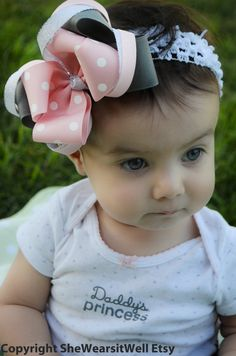#Hair Bow For Girls Gray and Light Pink Polka Dots by SheWearsitWell, $11.99