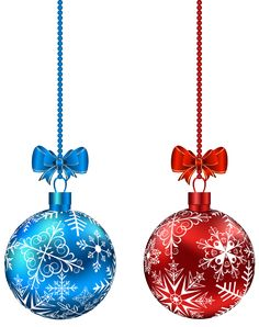 Blue and Red Hanging Christmas Balls PNG Clip-Art Image