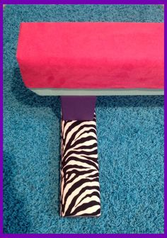 "Hot Pink Suede Gymnastics Balance Beam with Purple &Turquoise Base and Zebra Padded Feet 12"" Height"