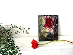Small Art Gift Original small abstract floral by StudioSabine, $50.00