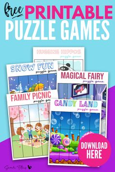 Adorable Artwork Puzzle Games - Printables For Girls To Enjoy - Sarah Titus Printable Games For Kids, Printable Puzzles For Kids, Free Printables, Preschool Activities At Home, Learning Activities, Puzzle Piece Template, Busy Book, Kids Writing, Games For Girls