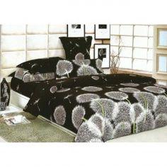 Posteľné obliečky čiernobiele s motívom púpavy - domtextilu. Master Bedroom, Bedroom Decor, Floral Bedding, Bed Sets, Color Splash, Bedding Sets, Interior And Exterior, Comforters, Satin