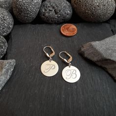 1 Paar Gravurplatten Ohrhänger in 925er Silber, Gravur, Buchstabe, NEU