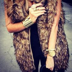 Fur vest, this would be cute with a black long sleeve shirt #jewelryinspiration