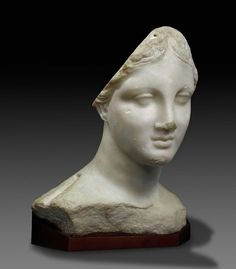 """Marble head of a goddess (""""The Chios Head""""). Greek. Hellenistic Period. 3rd to…"""
