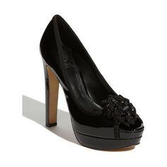 Vince Camuto Genevive Black Patent Leather Peep Toe Size 6 | eBay via Polyvore