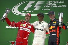 AP                  8:14 a.m. ET April 9, 2017                 Mercedes driver Lewis Hamilton of Britain, center, poses with Ferrari driver Sebastian Vettel of Germany, left, and Red Bull driver Max Verstappen of the Netherlands on the podium after winning the Chinese Formula One...  http://usa.swengen.com/verstappen-passes-9-cars-in-one-lap-in-masterful-china-race/