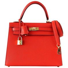 04ab2b8a6cbc Hermes Kelly Sellier Bag 25cm Rouge Tomate Red Epsom Gold Hardware