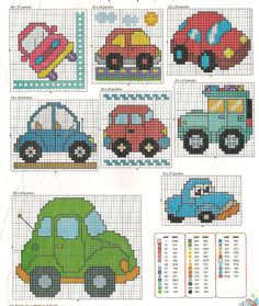cars Dylan little boys Cross Stitch For Kids, Cross Stitch Baby, Counted Cross Stitch Patterns, Cross Stitch Charts, Cross Stitch Designs, Cross Stitch Embroidery, Embroidery Patterns, Tapestry Crochet, Crochet Chart