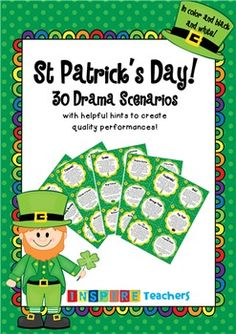Included in this product are 30 colored and black and white St Patrick's Day drama scenarios.
