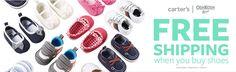 #FreeShipping #Shoes #Kids  No dejes pasar el #FreeShipping de  Lo mejor es siempe para los pequeños de casa. www.carters.com