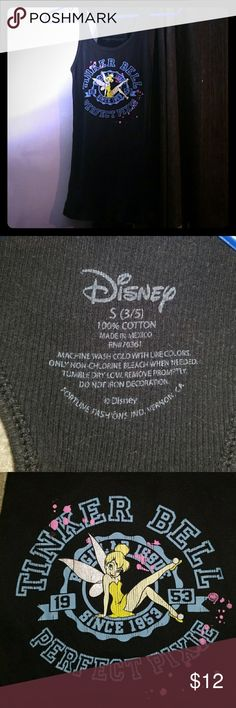 Tinkerbell perfect Pixie Tank Top Disney Black Worn once  Brand Disney Size small 100% cotton Never Worn Shoulder to bottom 26 inches Disney Tops Tank Tops