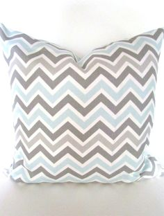 CHEVRON THROW PILLOW Covers Grey 20x20 Light Blue Decorative Throw Pillows 20 x 20 Baby Blue Gray Pillow