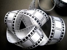 """Movie Film Ribbon, Black / White, 1 3/8"""" inch wide, 1 yard, For Mixed Media, Gifts, Scrapbook, Home Decor, Accessories"""