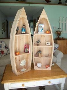 4 foot unfinished row boat shelf bookcase bookshelf by PoppasBoats #buildaboat