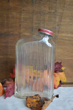 Vintage Glass Water Bottle with Original Red Lid by Vintassentials