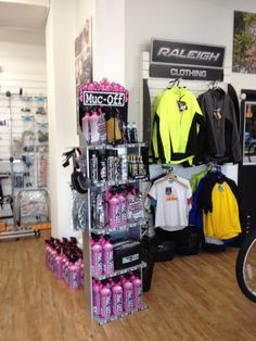 mucoff display stand and cycle clothing at Cyclelife Shoreham UK